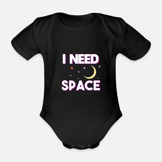 Astronaut Baby Clothes - space travel - Organic Short-Sleeved Baby Bodysuit black