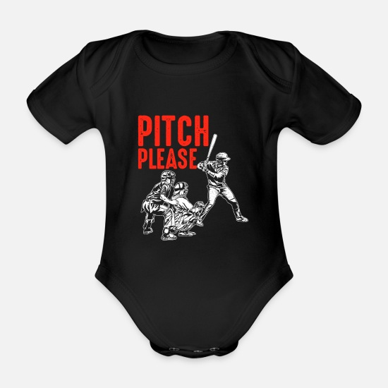 Baseball Glove Baby Clothes - Baseball Pitch Please - Organic Short-Sleeved Baby Bodysuit black