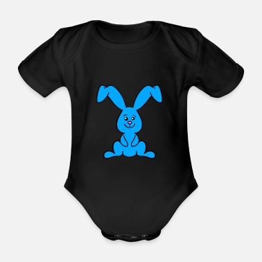 Floppy Ears Blue floppy ear bunny - Organic Short-Sleeved Baby Bodysuit