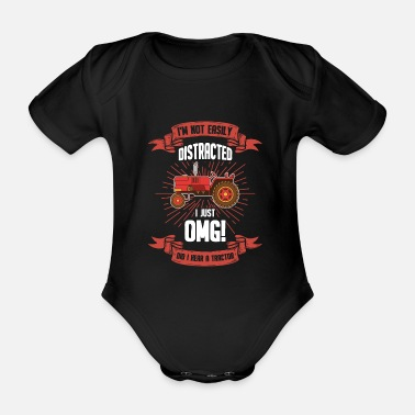 Village Funny sayings agriculture arable farmer tractor - Organic Short-Sleeved Baby Bodysuit