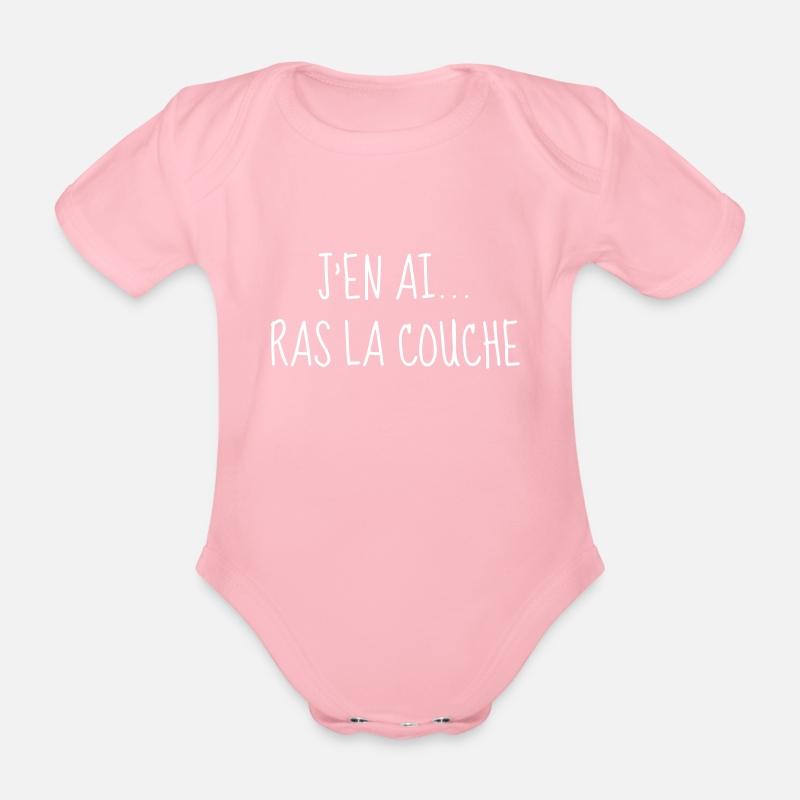 Jen Ai Ras La Couche Bébé Naissance Baby Body Bébé Bio Manches Courtes Rose Clair