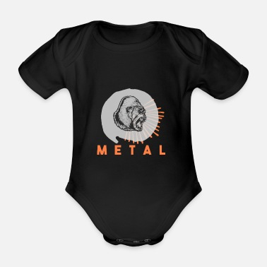 Headbang t-shirt heavy metal gorilla gift idea - Organic Short-Sleeved Baby Bodysuit