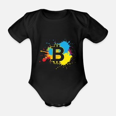 Explosion Bitcoin WatercolorBTC Crypto Moon - Organic Short-Sleeved Baby Bodysuit