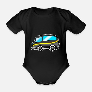 Road Transport Car Bus Transporter Cartoon - Organic Short-Sleeved Baby Bodysuit