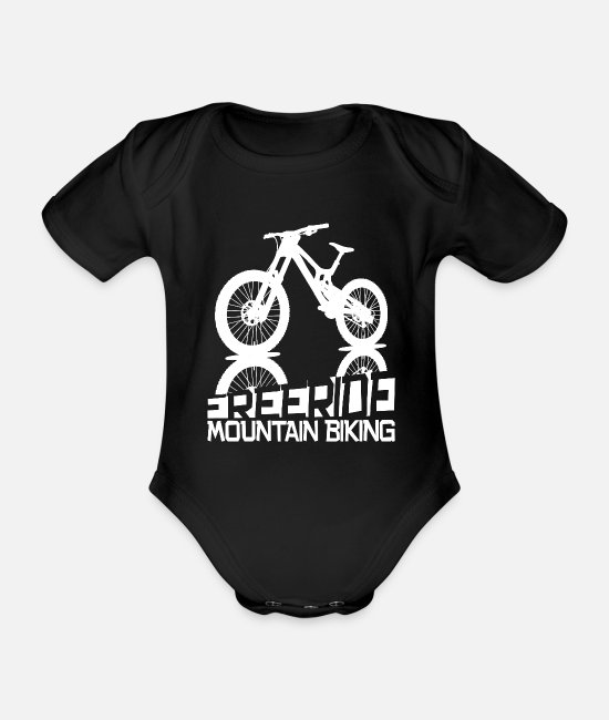Mountain Biking Baby Clothes - Freeride mountain biking - MTB freeriders - Organic Short-Sleeved Baby Bodysuit black