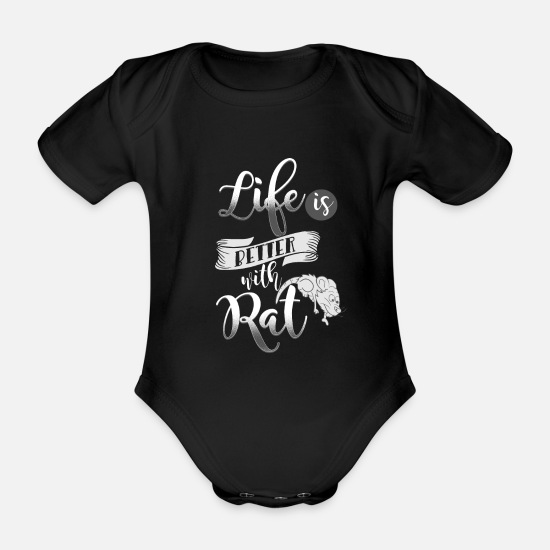 Rat Baby Clothes - rat - Organic Short-Sleeved Baby Bodysuit black