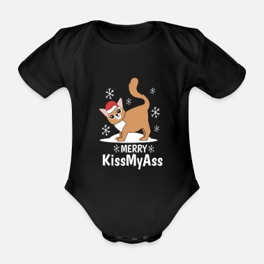 Satyr Cat Christmas Fuck You Ugly Joke Gift - Organic Short-sleeved Baby Bodysuit
