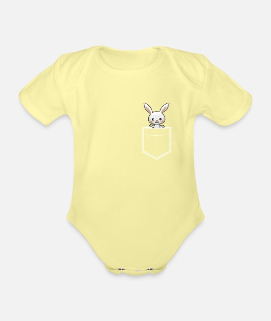 Bunny Tooth Baby Clothes - Breast pocket bunny with floppy ears - Organic Short-Sleeved Baby Bodysuit washed yellow