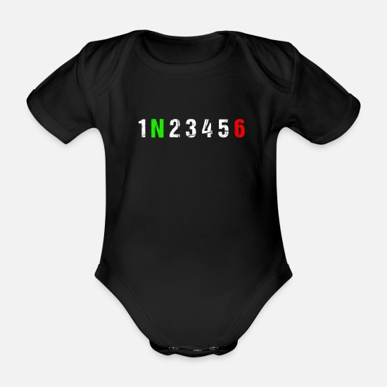 Dirt Baby Clothes - Gearshift - Biker, Motorcycle, Race - Organic Short-Sleeved Baby Bodysuit black