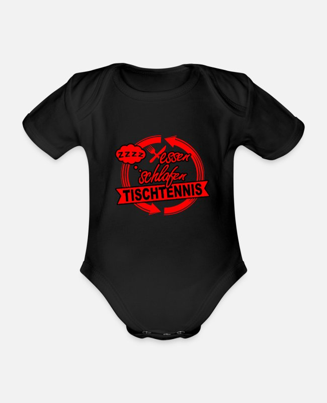 Competition Baby Bodysuits - table tennis - Organic Short-Sleeved Baby Bodysuit black