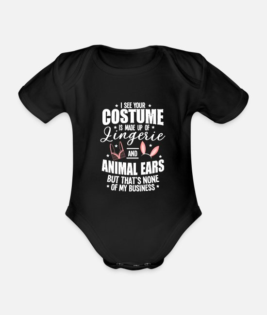 Meme Baby Bodysuits - Halloween Sexy Ears Underwear Costume Gifts - Organic Short-Sleeved Baby Bodysuit black
