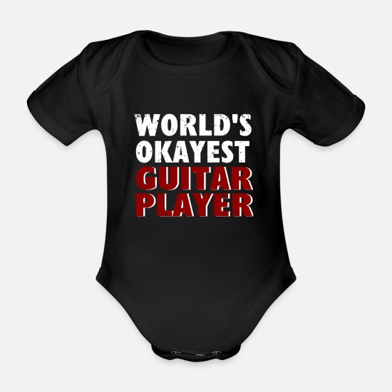 Bass Baby Clothes - Worlds Okayest guitar player - Organic Short-Sleeved Baby Bodysuit black