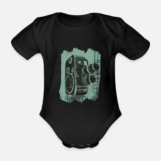 Image Baby Clothes - Movie hobby camera - Organic Short-Sleeved Baby Bodysuit black