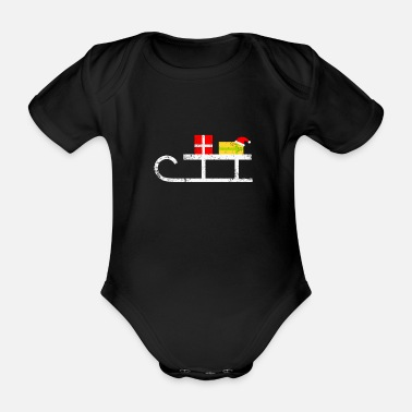 Scene Sled with presents Christmas - Organic Short-Sleeved Baby Bodysuit