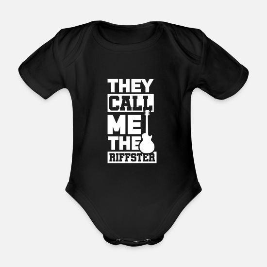 Birthday Baby Clothes - Electric guitar gift I electric guitar guitarist - Organic Short-Sleeved Baby Bodysuit black
