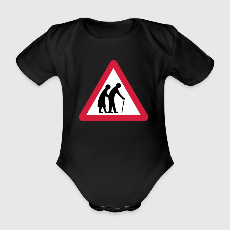 Caution Old People Crossing Traffic Sign - Organic Short-sleeved Baby Bodysuit