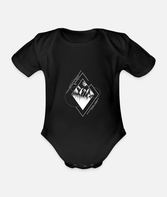 Tent Baby Clothes - Geometry type landscape mountain moon forest v1w - Organic Short-Sleeved Baby Bodysuit black