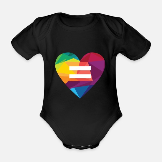 Gay Pride Baby Clothes - LGBT Rights Rainbow Heart Marriage Equality - Organic Short-Sleeved Baby Bodysuit black