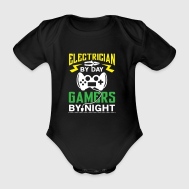Electrician by Day Gamers by Night - arcade player - Organic Short-sleeved Baby Bodysuit