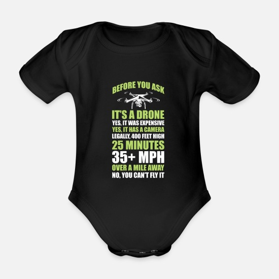 Gift Idea Baby Clothes - Drone camera video fun - Organic Short-Sleeved Baby Bodysuit black