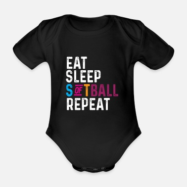 Failure Funny Eat Sleep softball repeat - Organic Short-Sleeved Baby Bodysuit