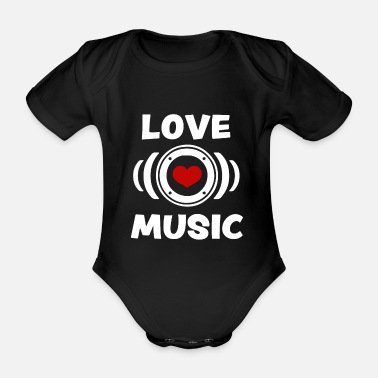 Trance i love music - i love music - heart box gift - Organic Short-sleeved Baby Bodysuit