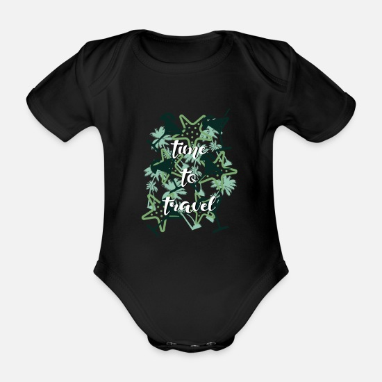 Motorcycle Baby Clothes - to travel - Organic Short-Sleeved Baby Bodysuit black