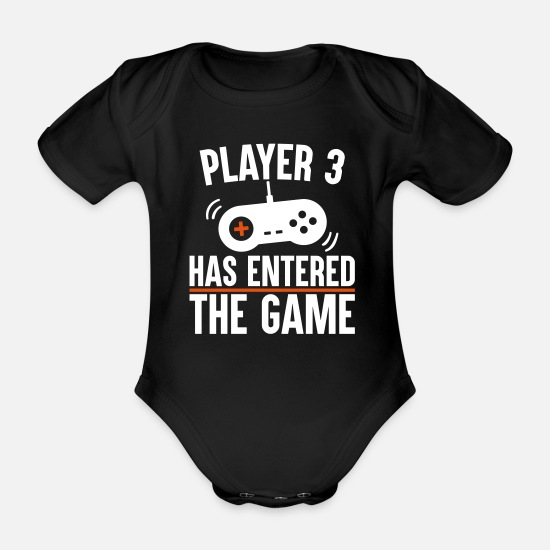 Player Baby Clothes - Player 3 has entered the game - Organic Short-Sleeved Baby Bodysuit black