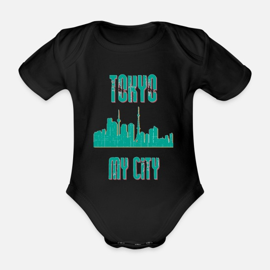 Country Baby Clothes - Tokyo MY CITY - Organic Short-Sleeved Baby Bodysuit black