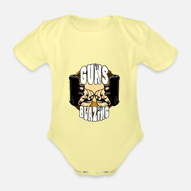 Blaze Guns blazing - Organic Short-Sleeved Baby Bodysuit
