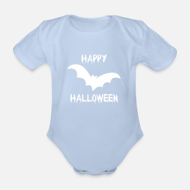 Trick Or Treat Halloween bat vampire creepy funny - Organic Short-Sleeved Baby Bodysuit