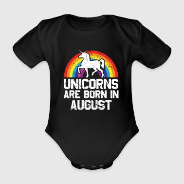 Born In Unicorns Are Born In August Shirt Birthday Month Gift Tee - Organic Short-sleeved Baby Bodysuit