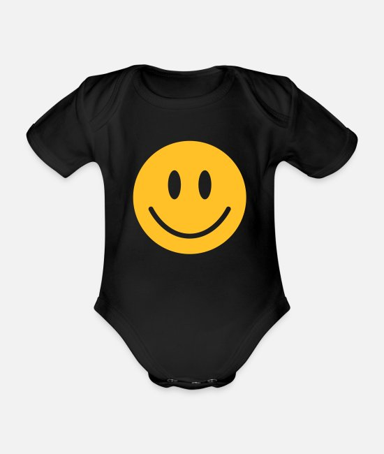Feeling Baby Bodysuits - happy, yellow face - Organic Short-Sleeved Baby Bodysuit black