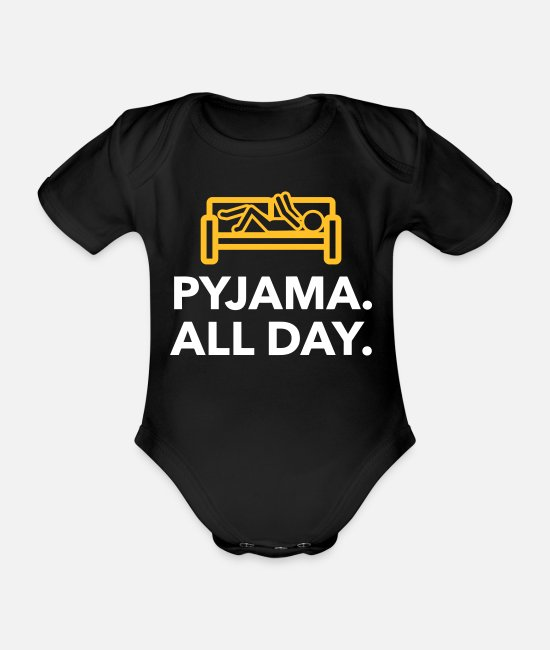 Bed Baby Bodysuits - Throughout The Day In Your Pajamas! - Organic Short-Sleeved Baby Bodysuit black