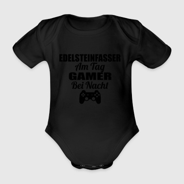 Gambling on the day Gamer night lol GEM PEG - Organic Short-sleeved Baby Bodysuit