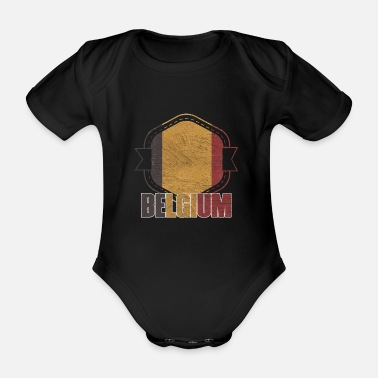 National Belgium national colors nation - Organic Short-Sleeved Baby Bodysuit