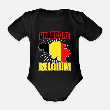 National Colours Belgium nationality national colors - Organic Short-Sleeved Baby Bodysuit