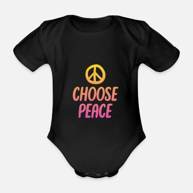 Resistance Hippie Choose Peace Message Cool Gift - Organic Short-sleeved Baby Bodysuit