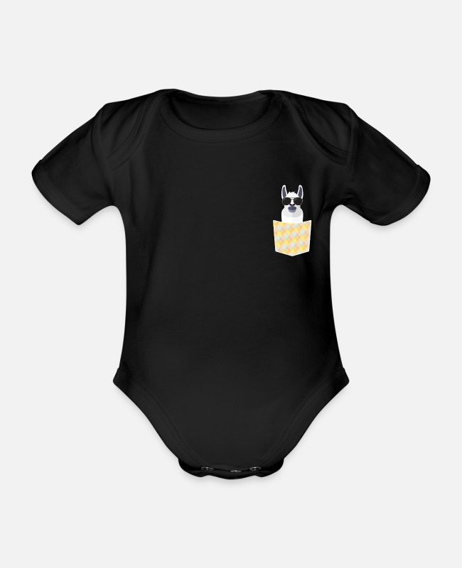 Funny Pictures Baby Bodysuits - cute funny animals llama - Organic Short-Sleeved Baby Bodysuit black