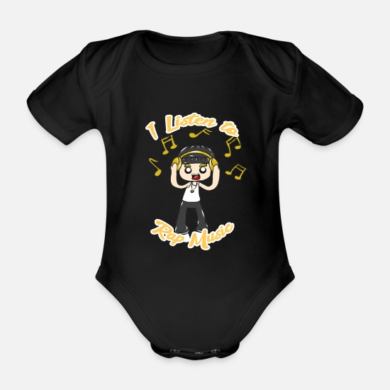 Rap Baby Clothes - rap music - Organic Short-Sleeved Baby Bodysuit black