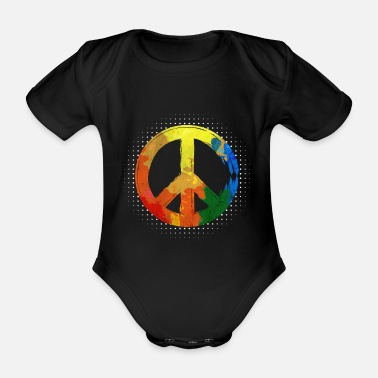 Hippie Festival Hippie Hippie Movement Peace Movement Peace - Organic Short-Sleeved Baby Bodysuit