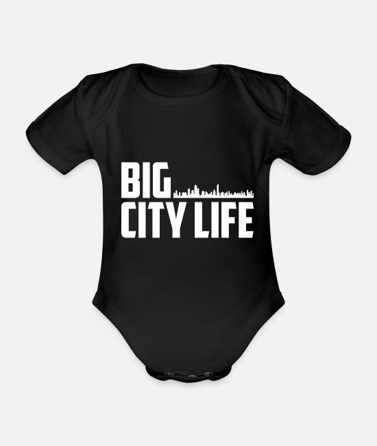 2019 Baby Clothes - T-Shirt | Big City Life Skyline White - Organic Short-Sleeved Baby Bodysuit black