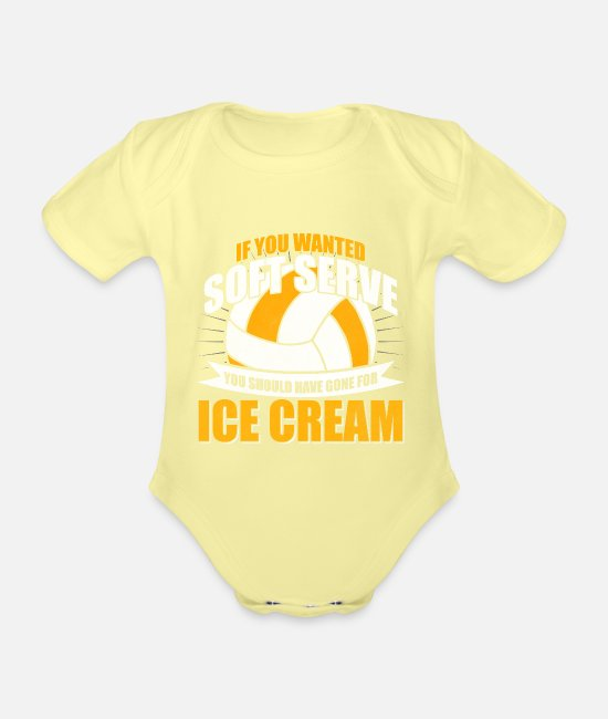 Volleyball Team Baby Clothes - Volleyball Volleyball Set Volleyball Team - Organic Short-Sleeved Baby Bodysuit washed yellow