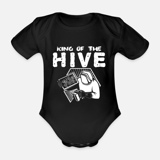 Gift Idea Baby Clothes - Beekeeper bee honey bee - Organic Short-Sleeved Baby Bodysuit black