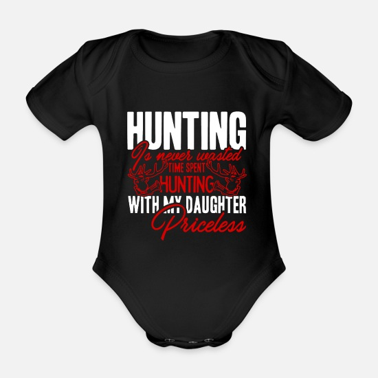 Hunting Baby Clothes - Hunt hunter deer hunting father and daughter - Organic Short-Sleeved Baby Bodysuit black