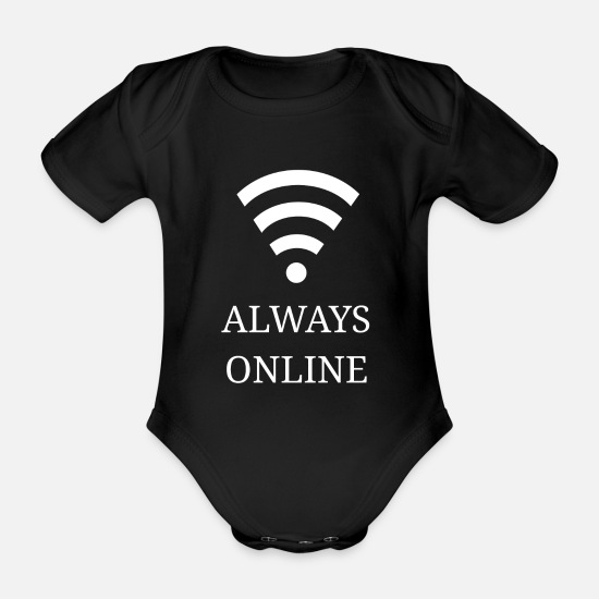 Life Force Baby Clothes - Always online - Always online - Organic Short-Sleeved Baby Bodysuit black