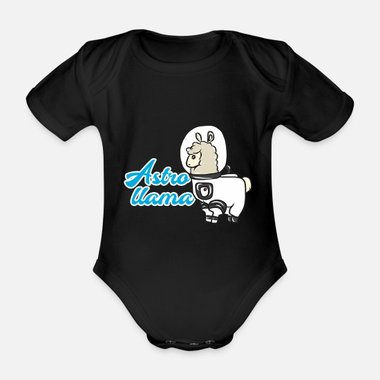 Gift Idea Baby Clothes - lama - Organic Short-Sleeved Baby Bodysuit black