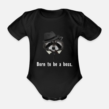 Cheeky Monkey Raccoon born to be a boss - Organic Short-Sleeved Baby Bodysuit