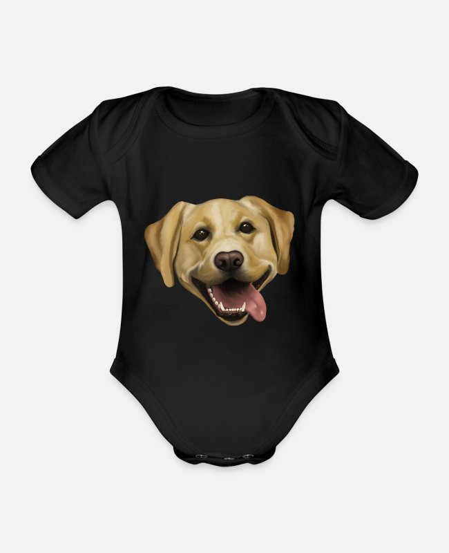 Female Dog Baby Bodysuits - Dog - Labrador - Organic Short-Sleeved Baby Bodysuit black