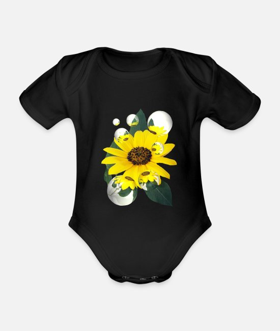 Friends Baby Bodysuits - Summer dream of a sunflower - Organic Short-Sleeved Baby Bodysuit black